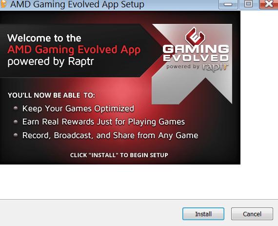 AMD Gaming Evolved Начало установки