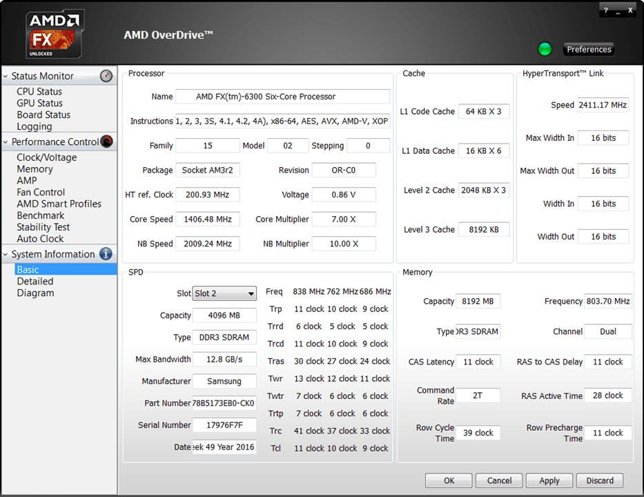 AMD Overdrive Информация