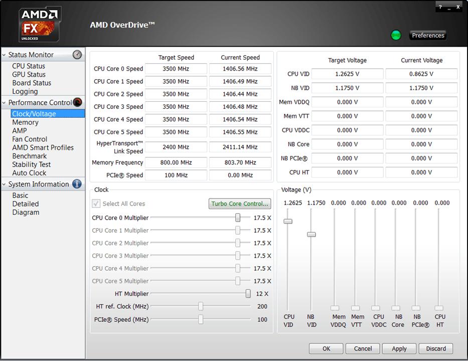 AMD Overdrive Напряжение