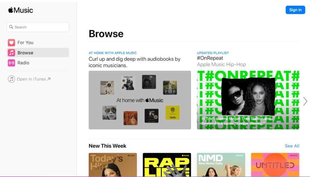 Apple Music Главное окно