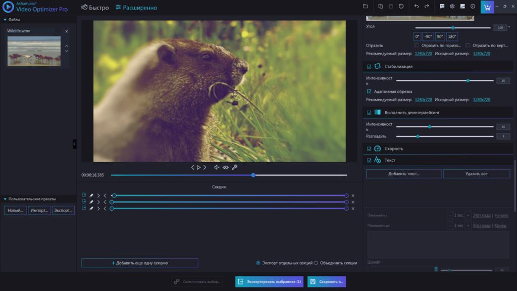 Ashampoo Video Optimizer Pro Инструменты