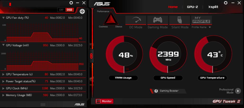 ASUS GPU Tweak Главная
