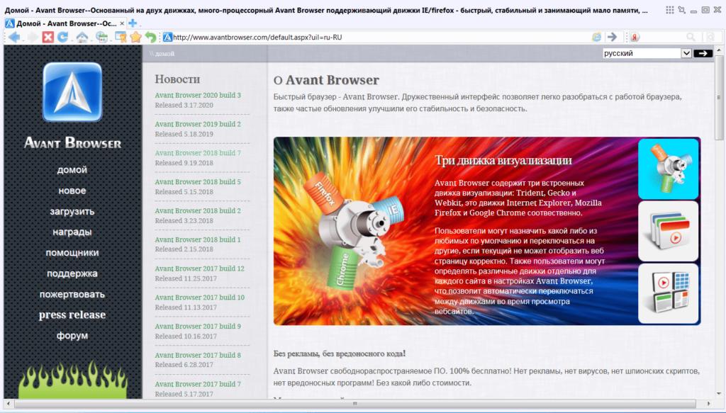 Avant Browser Начало работы