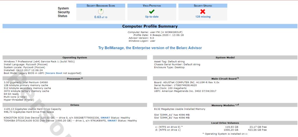 Belarc Advisor Подготовленный отчет о системе