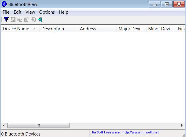 BluetoothView Основное окно