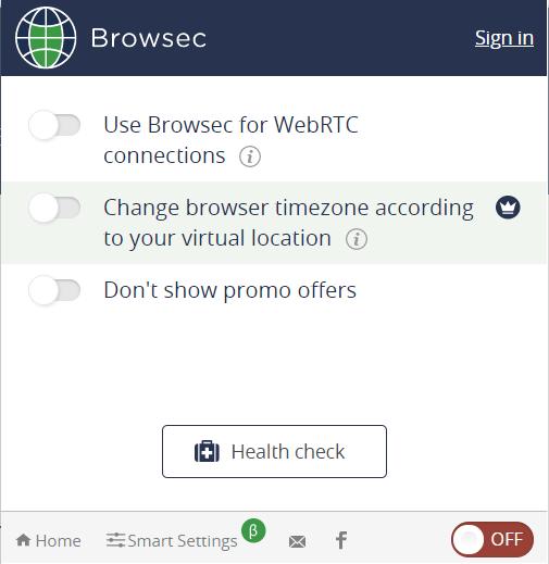 Browsec Настройки