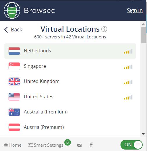 Browsec Серверы