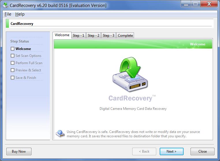 CardRecovery Главное окно