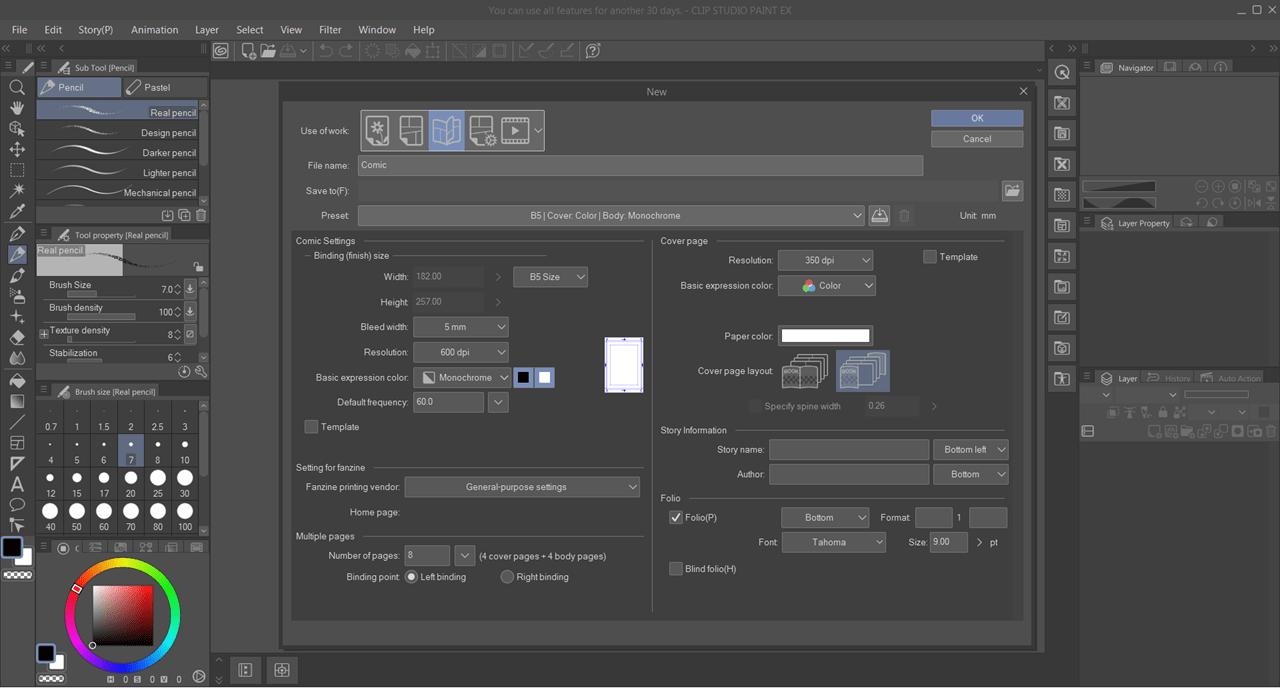 Clip Studio Paint Новый проект