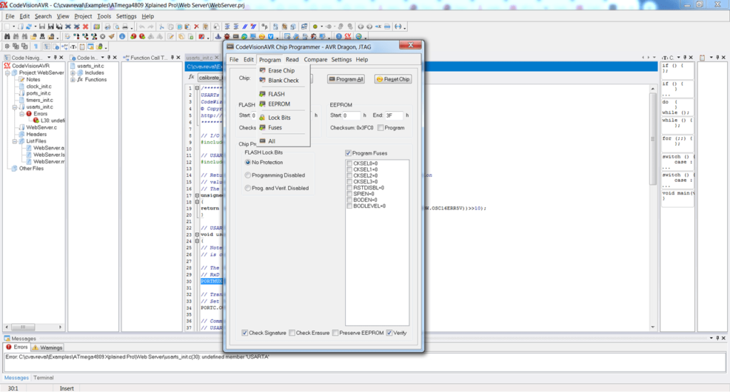 CodeVisionAVR Программирование