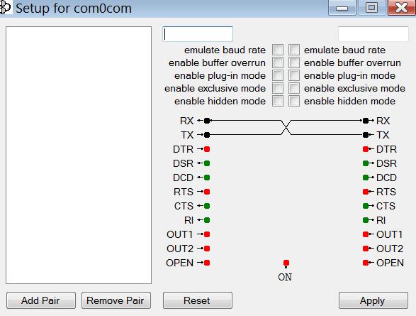 Com0com Основное меню