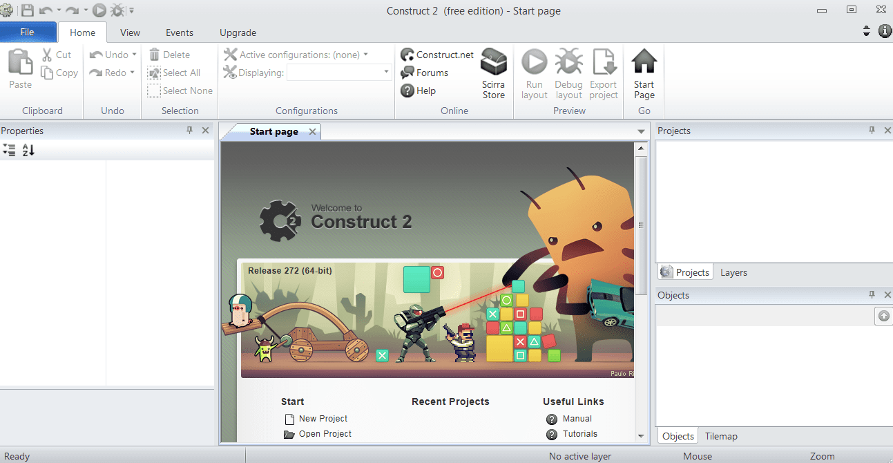 Construct 2 Главное меню