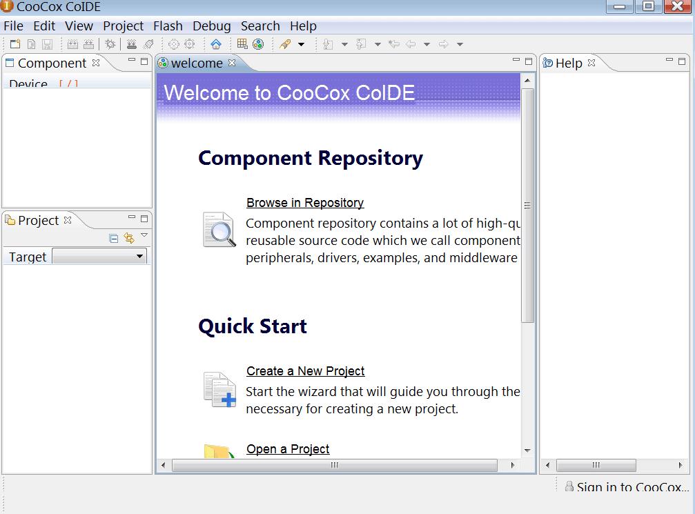 CooCox IDE Основное меню
