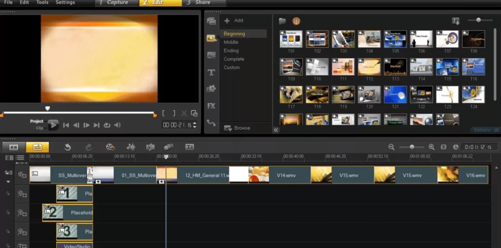 Corel VideoStudio Pro Главное меню