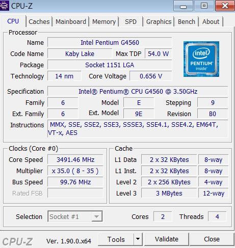 CPU-Z Главное меню