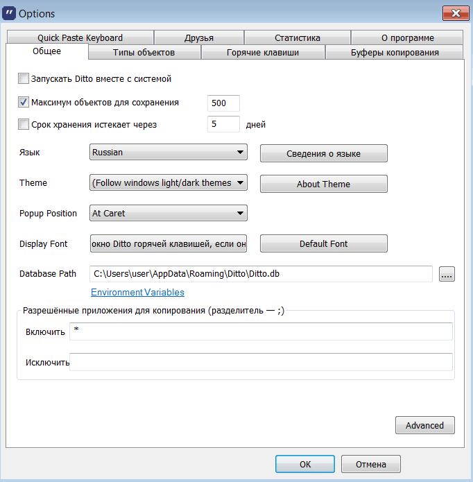 Ditto Окно параметров