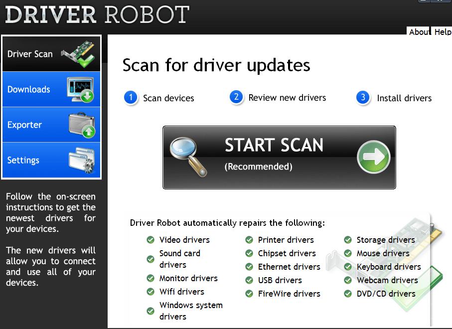 Driver Robot Сканирование системы