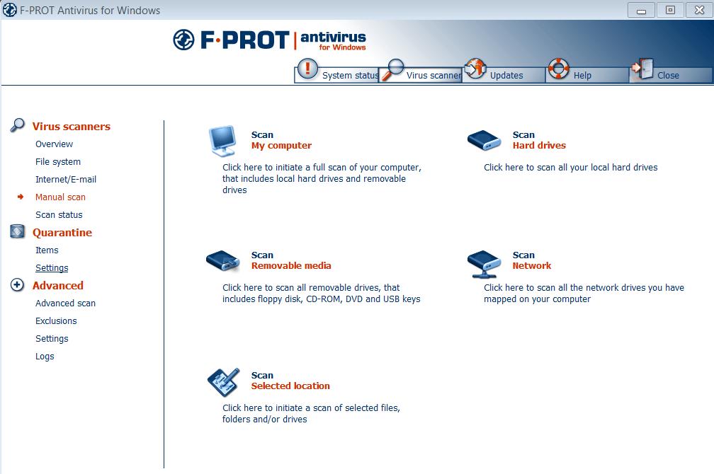 F-Prot Меню сканирования