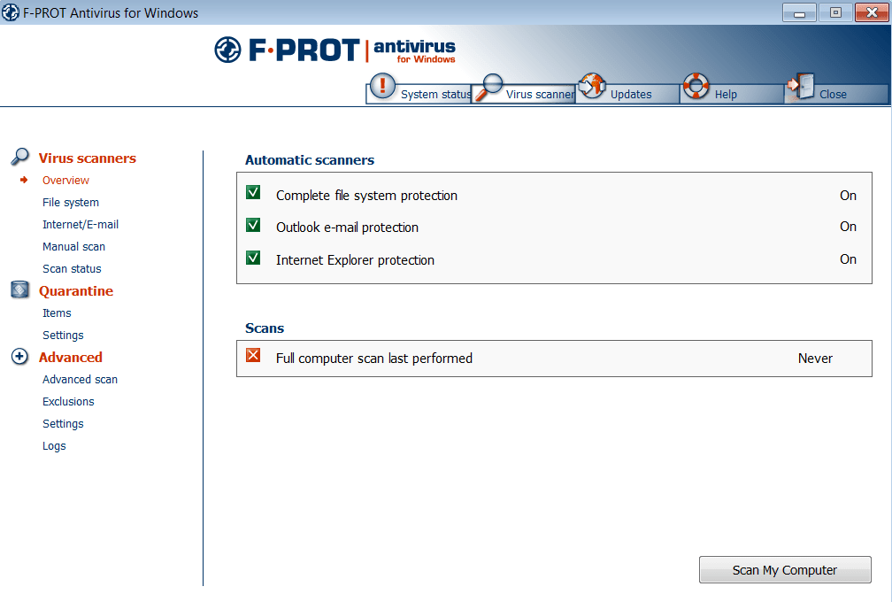 F-Prot Основное окно