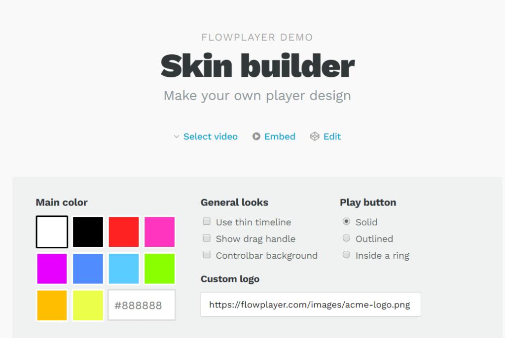 Flowplayer Настройки видео