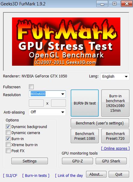 FurMark Начало работы