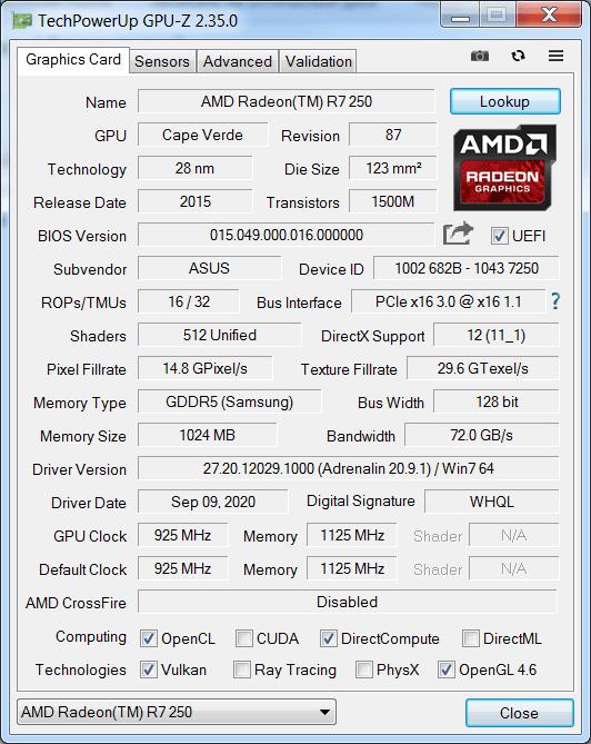 GPU Z Характеристики