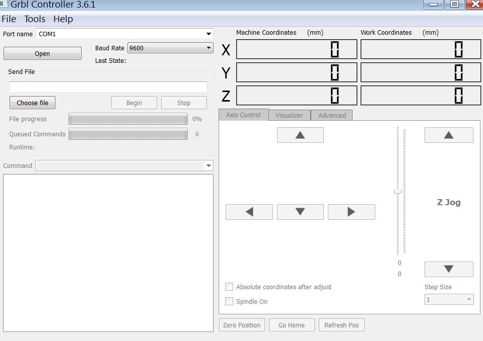 Grbl Controller Главное меню