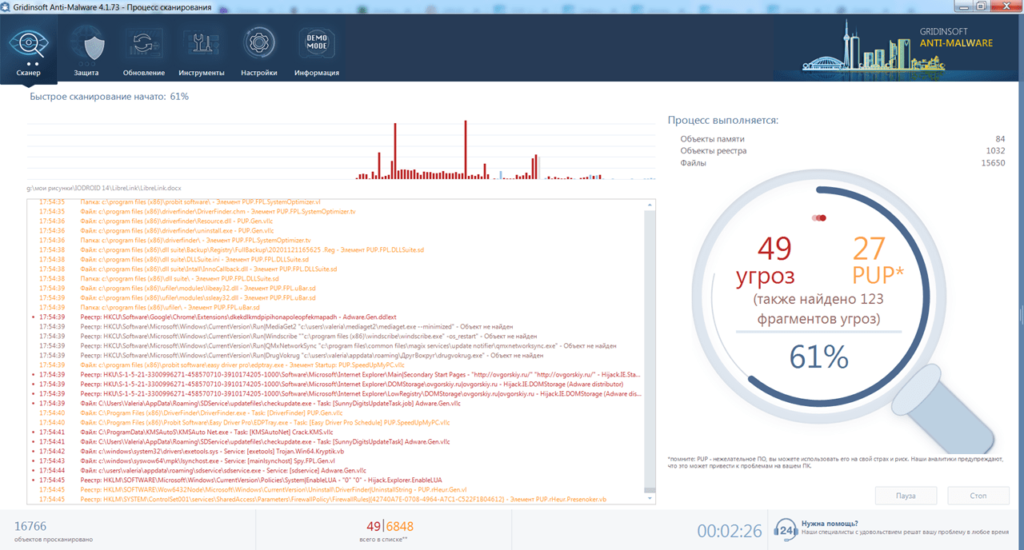 GridinSoft Anti Malware Сканирование