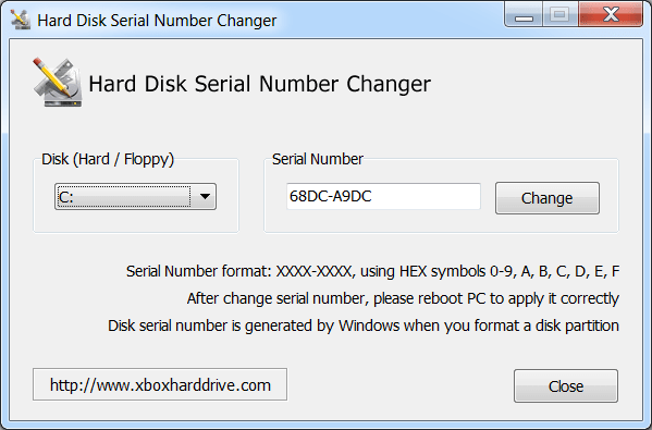 Hard Disk Serial Number Changer Главная