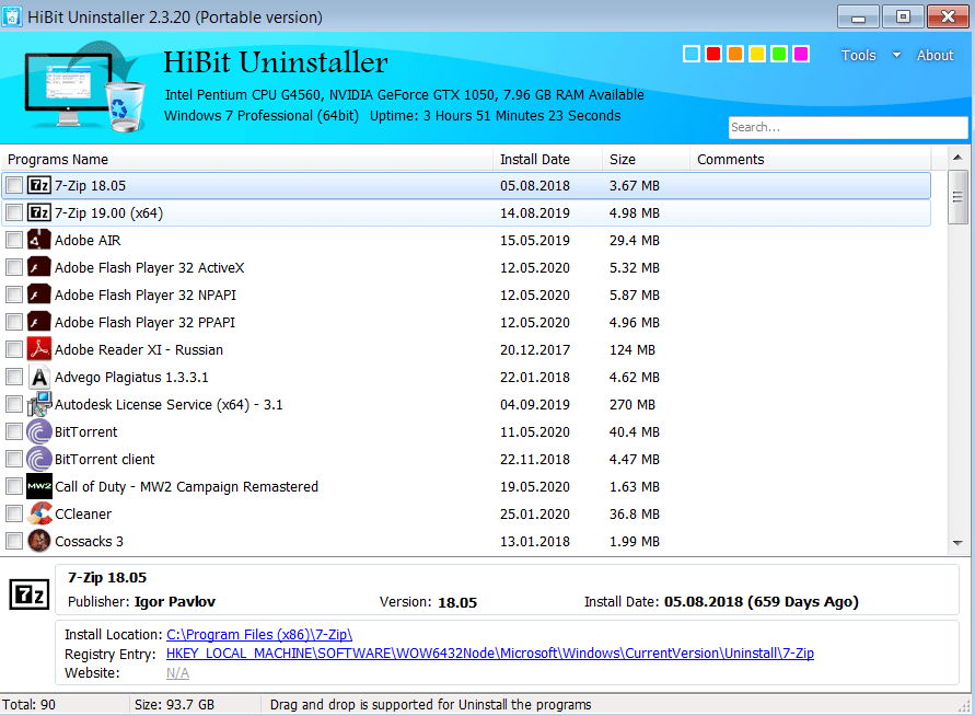 HiBit Uninstaller Начало работы