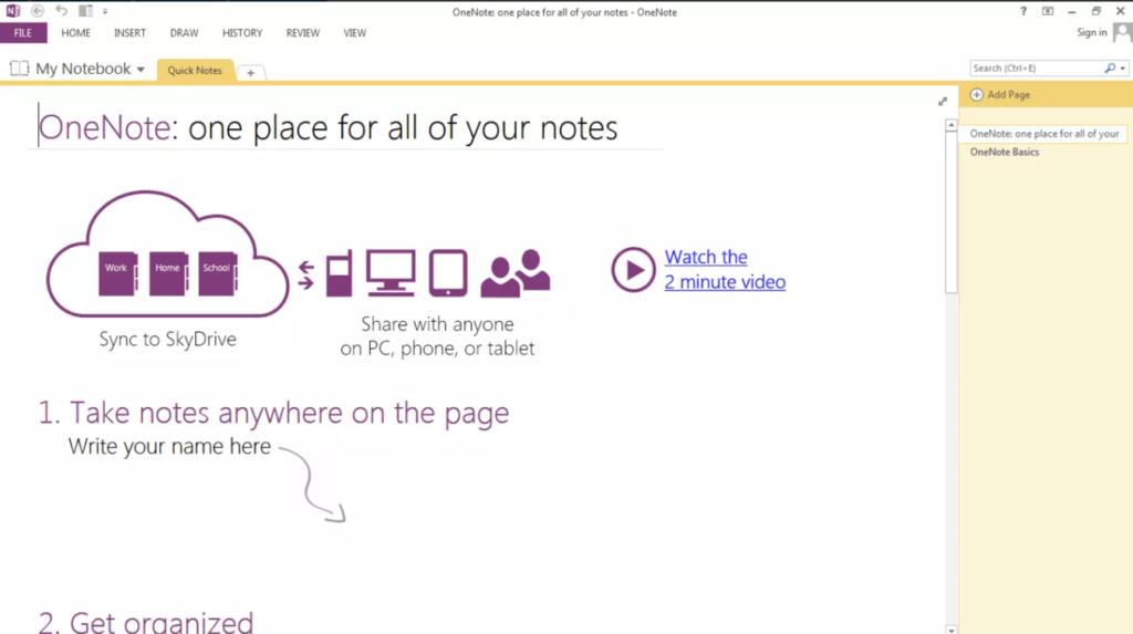 Microsoft OneNote Начало работы