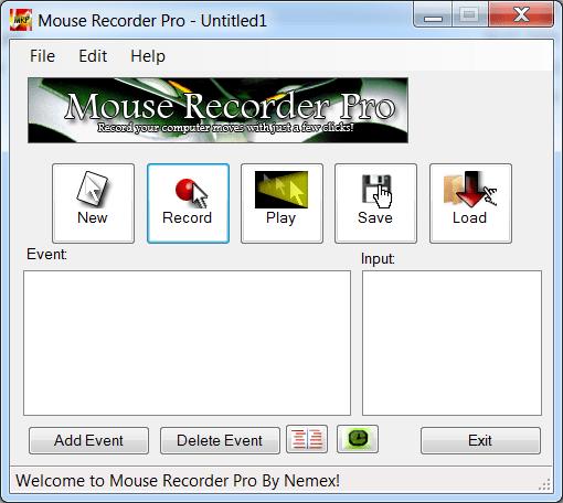 Mouse Recorder Pro Меню