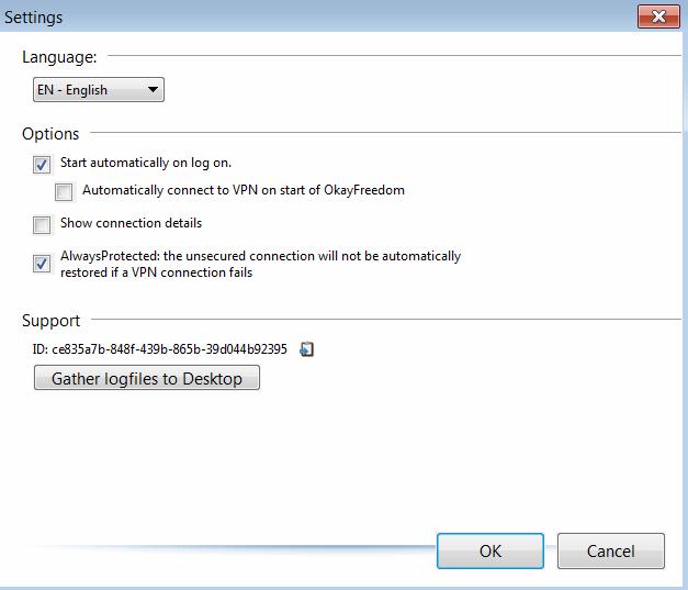 OkayFreedom VPN Меню настроек