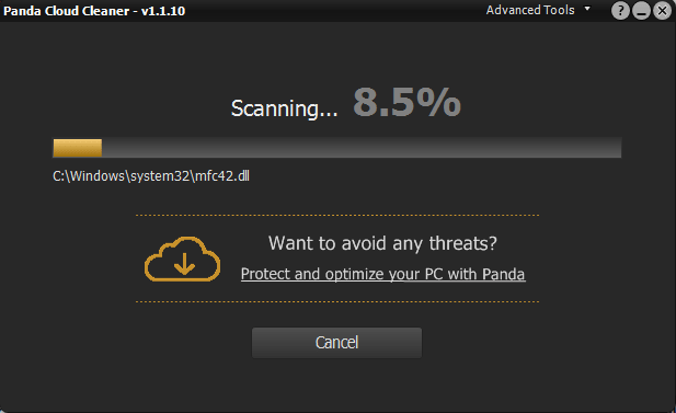 Panda Cloud Cleaner Сканирование