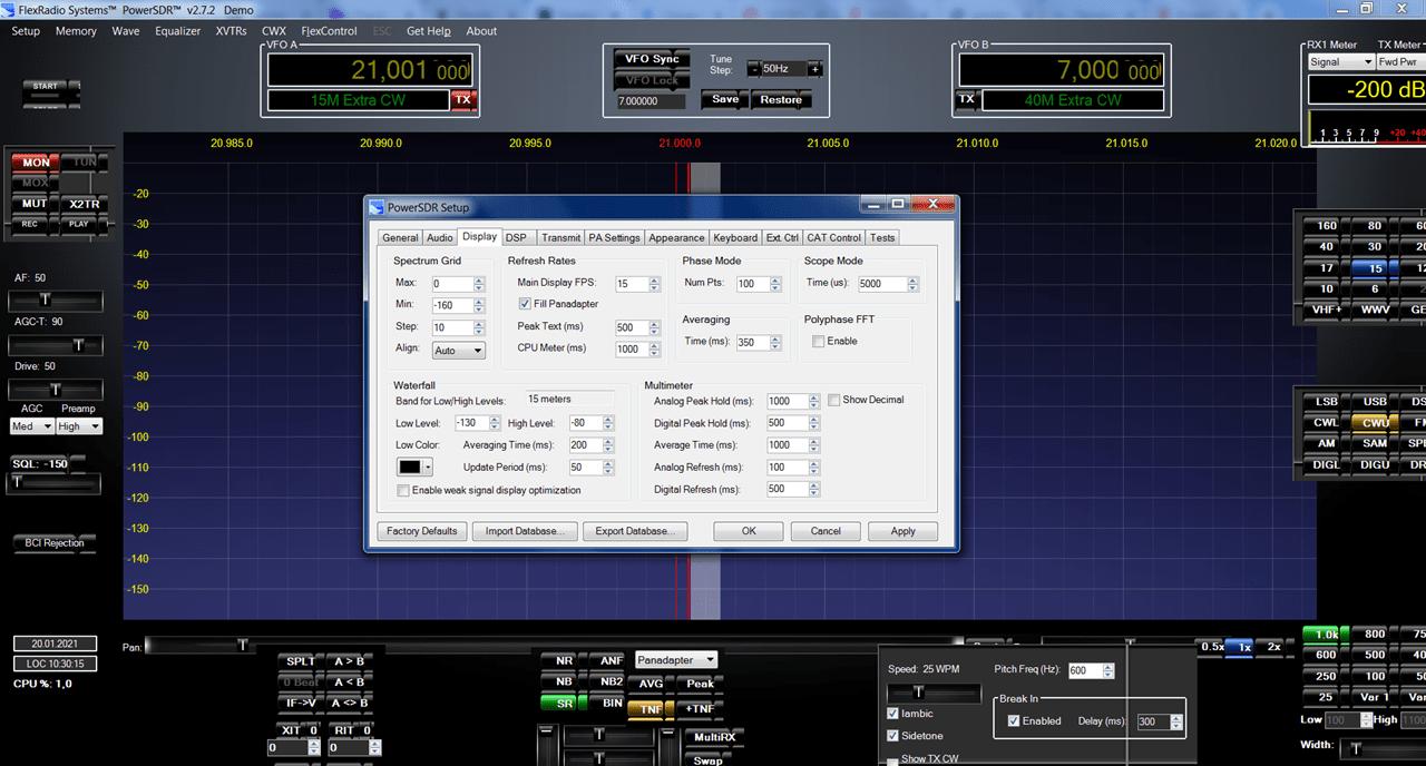 PowerSDR Настройки