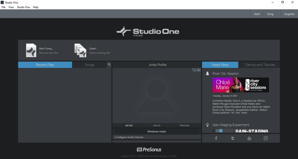 PreSonus Studio One Главная