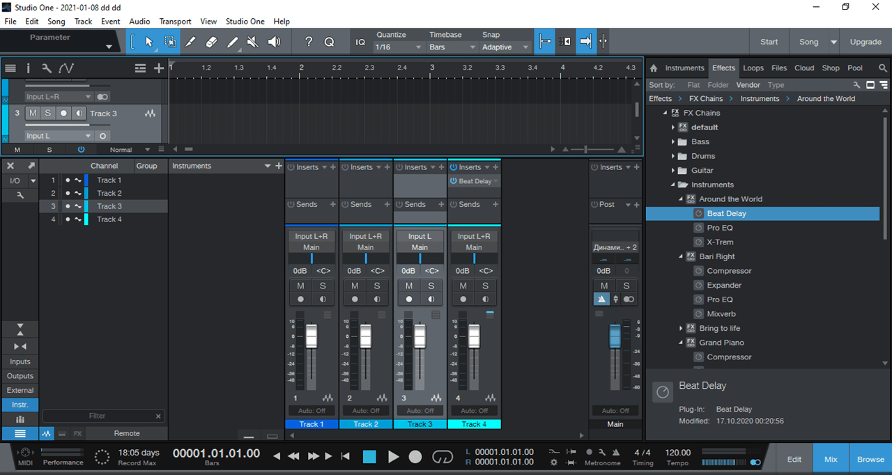 PreSonus Studio One Микшер