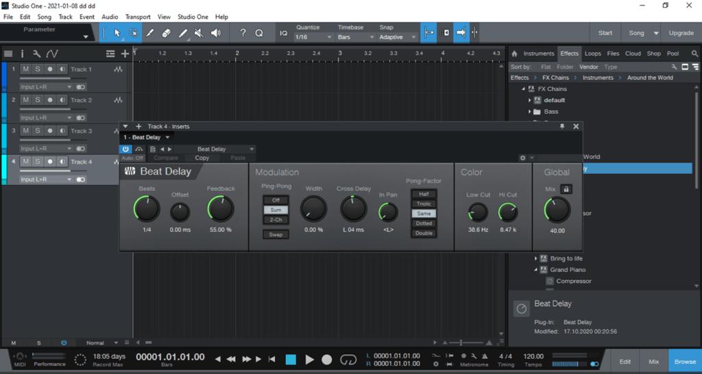 PreSonus Studio One Трек
