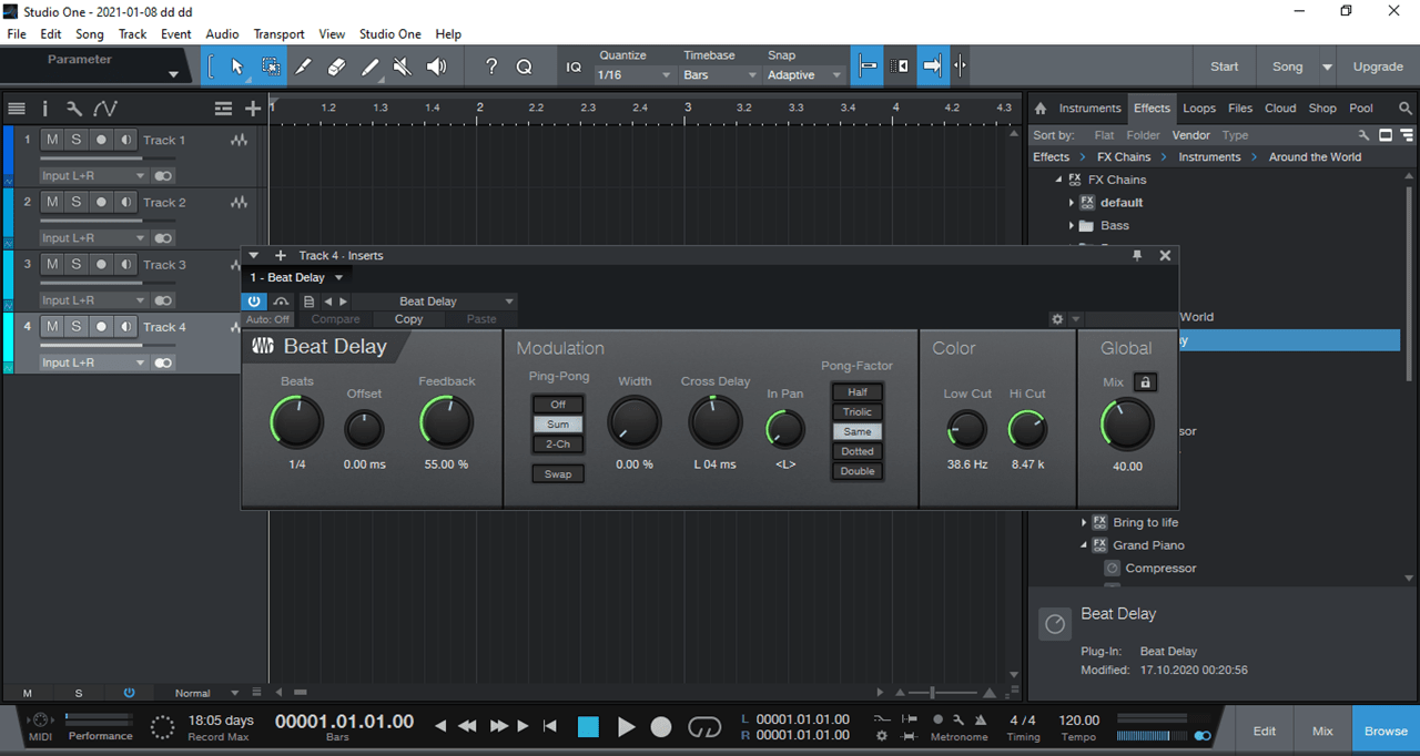 PreSonus Studio One Трек
