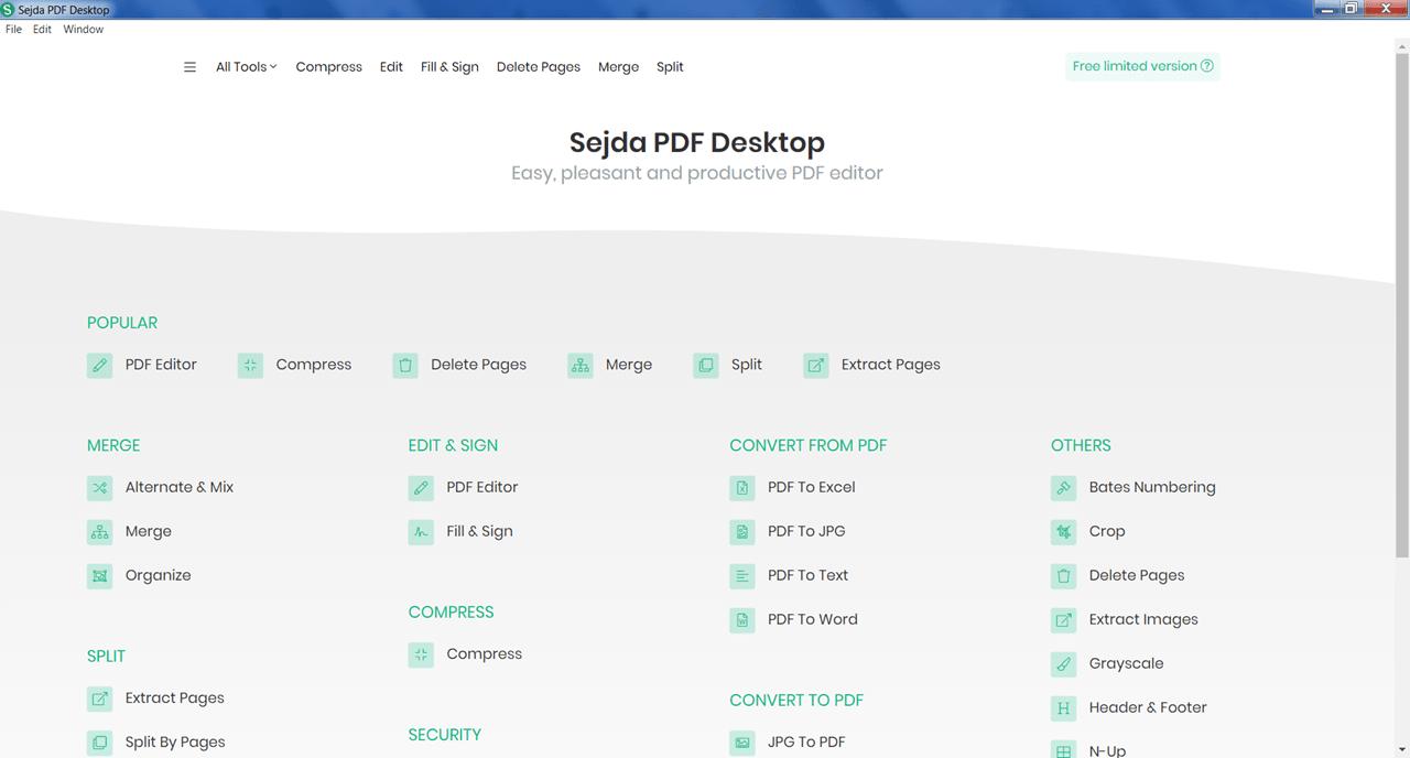 Sejda PDF Меню
