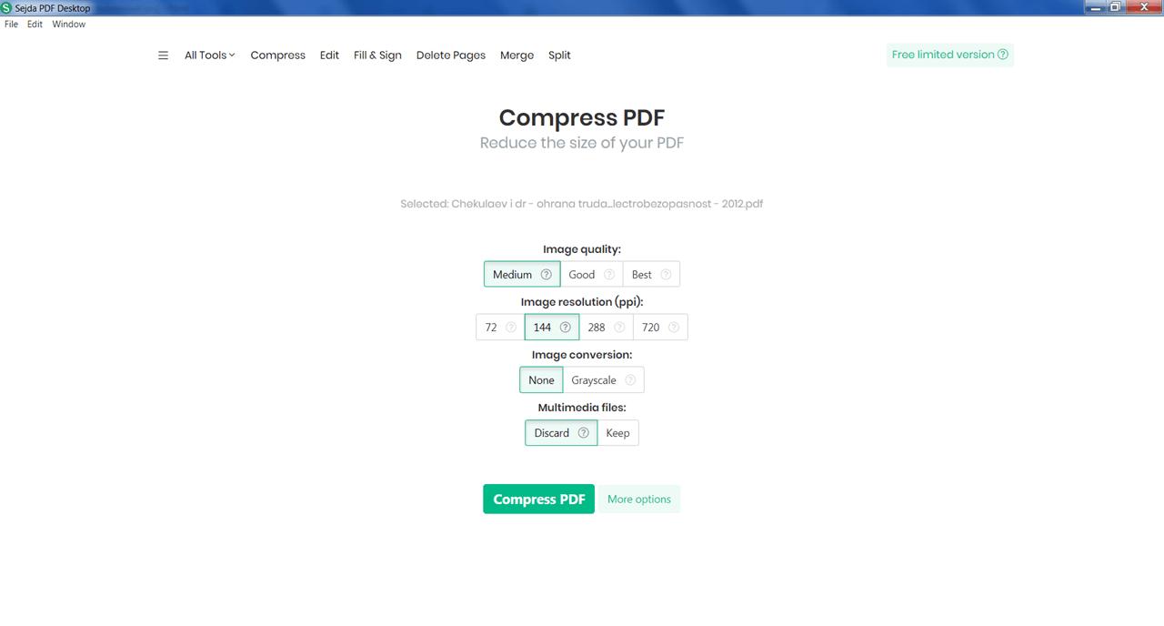 Sejda PDF Сжатие