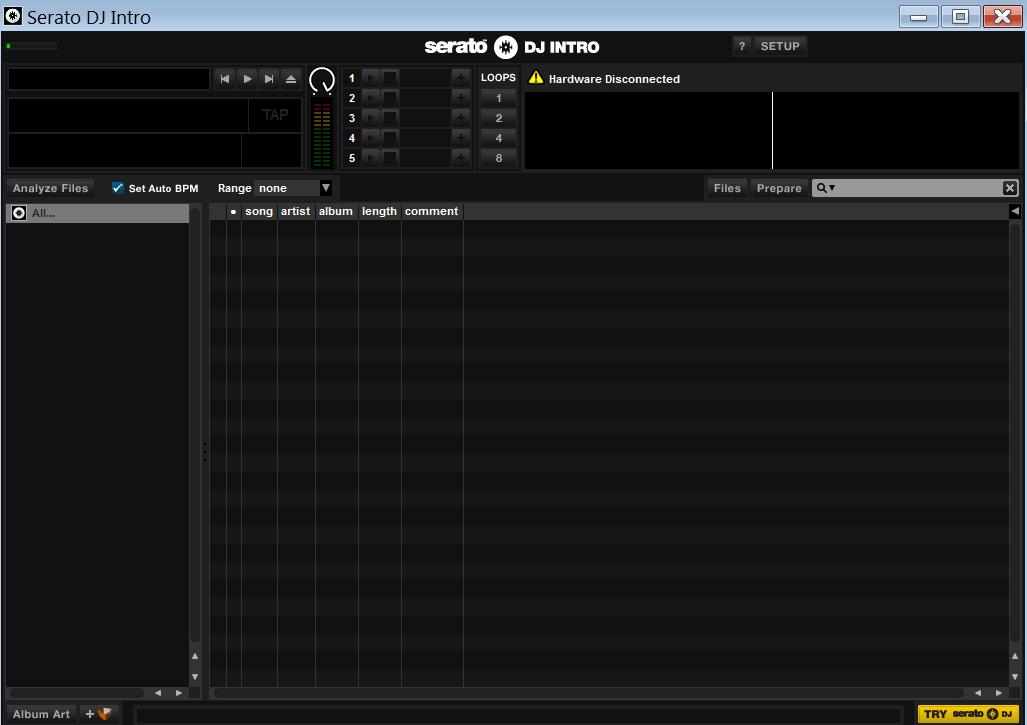 Serato DJ Intro Главное меню