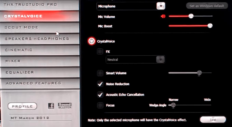 Sound Blaster Control Panel Главное меню
