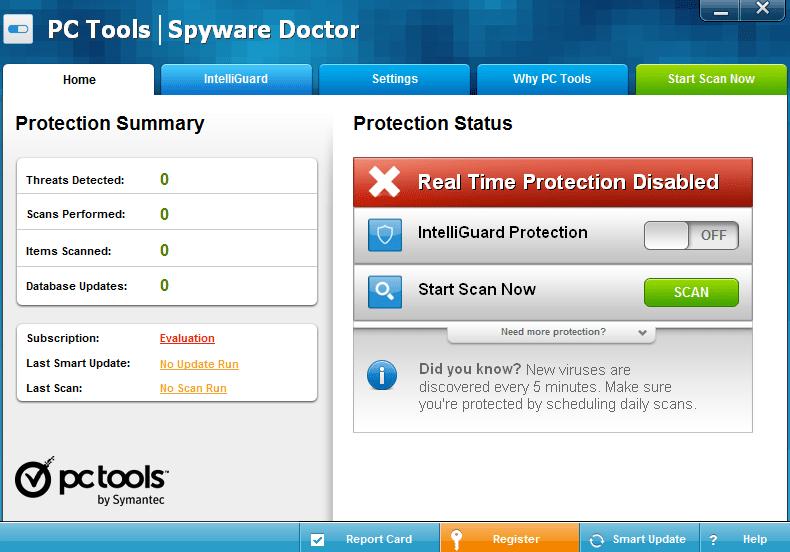 Spyware Doctor Начало работы