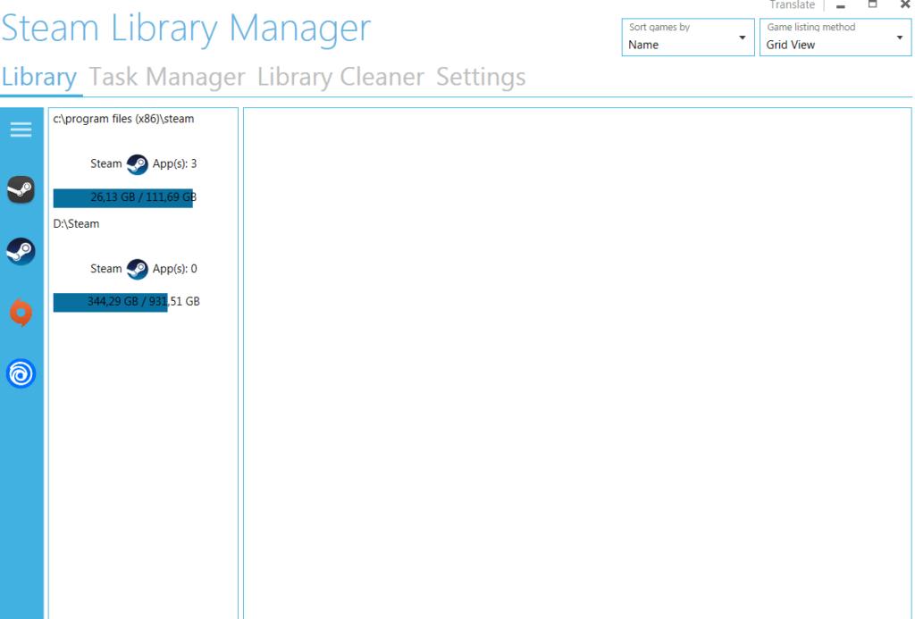 Steam Library Manager Главное меню