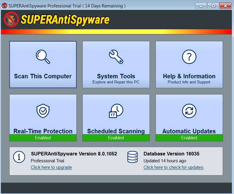 SuperAntiSpyware Начало работы