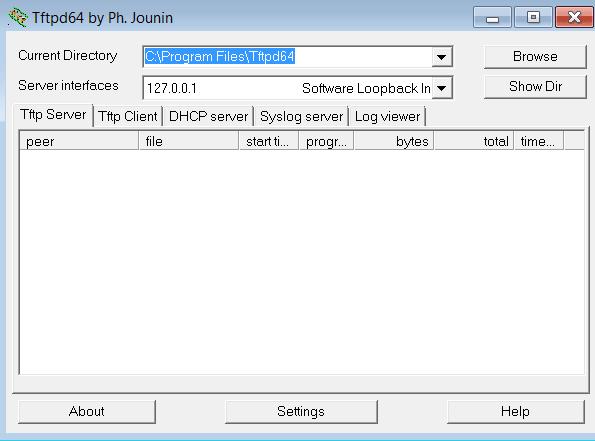 TFTP32 Основное окно