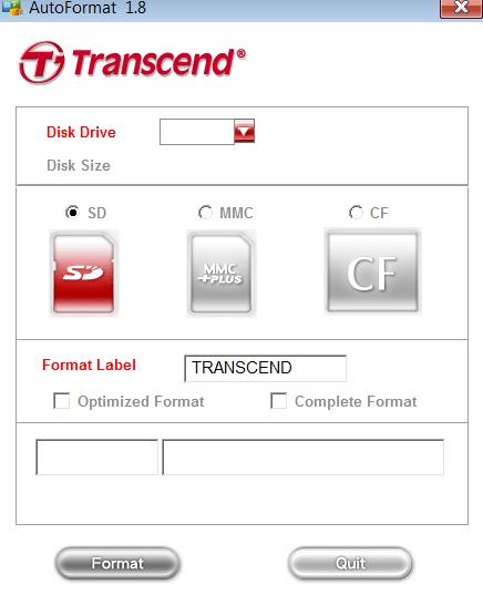 Transcend Autoformat  Главное меню