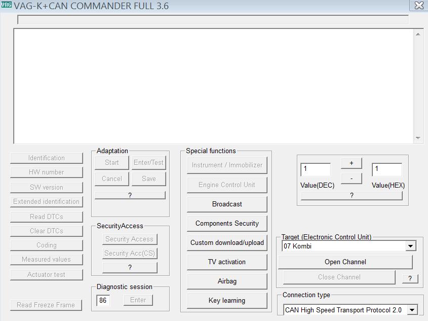 VAG Commander Главное меню