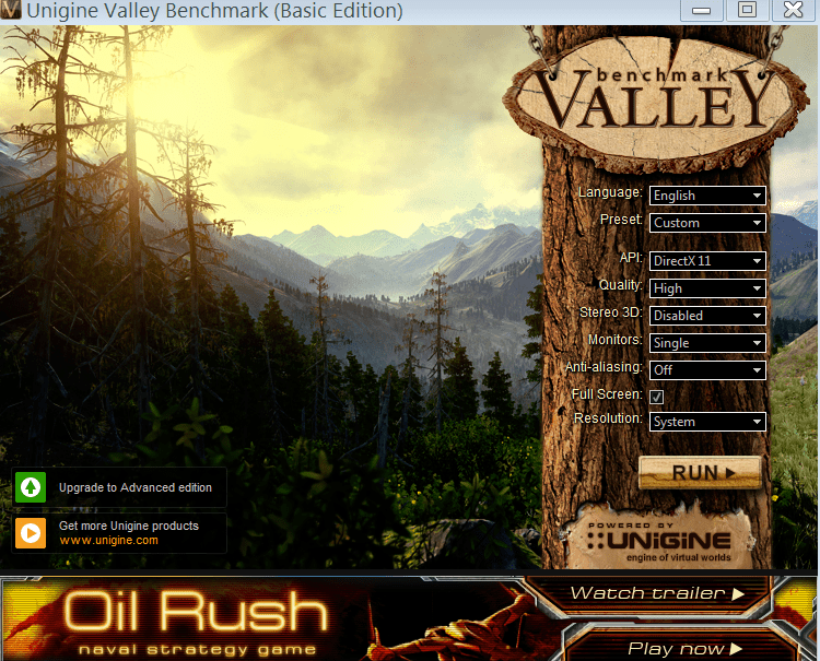 Valley Benchmark Главное меню